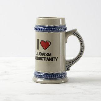 I Love Judaism & Christianity Digital Design Beer Steins