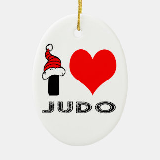 I Love Judo Design Ceramic Ornament