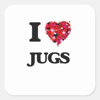 I Love Jugs Square Sticker