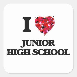 I Love Junior High School Square Sticker