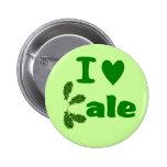 I Love Kale (I Heart Kale) Vegetable/Gardener Pinback Buttons