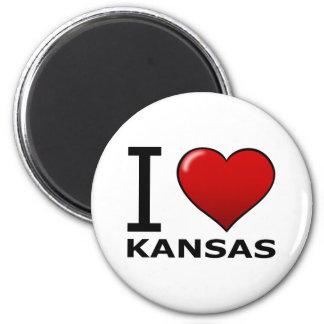 I LOVE KANSAS 6 CM ROUND MAGNET