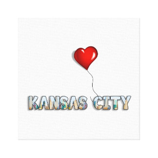 I Love Kansas City with KC Skyline Inside Letters Canvas Print