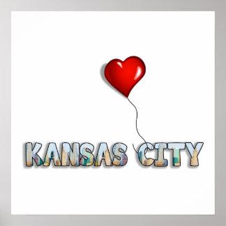 I Love Kansas City with KC Skyline Inside Letters Poster