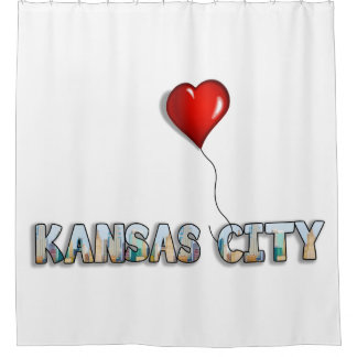 I Love Kansas City with KC Skyline Inside Letters Shower Curtain