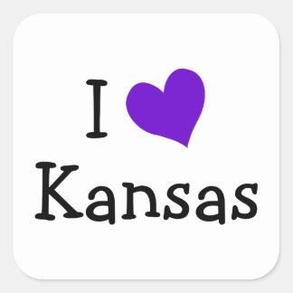 I Love Kansas Square Sticker