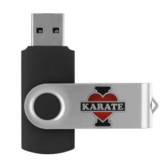 I Love Karate Swivel USB 2.0 Flash Drive