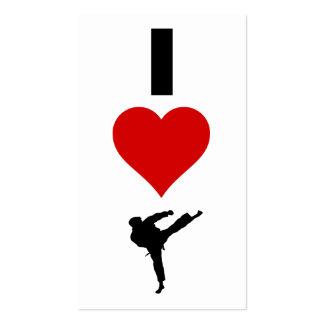 I Love Karate Vertical Business Cards