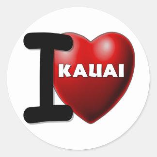 I Love Kauai, Hawaii Round Sticker