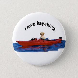 I love kayaking (yellow lab)  2 6 cm round badge