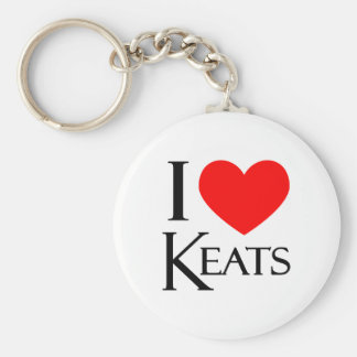 I Love Keats Basic Round Button Key Ring