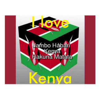 I Love Kenya national Flag 3D Postcard