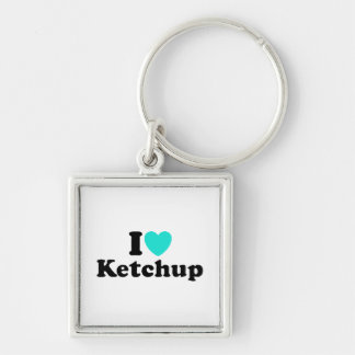 I Love Ketchup Silver-Colored Square Key Ring
