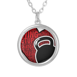 I LOVE KETTLEBELL DESIGN SILVER PLATED NECKLACE