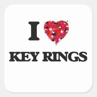 I Love Key Rings Square Sticker