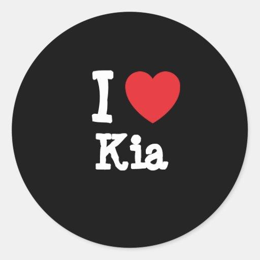 I love Kia heart T-Shirt Round Sticker