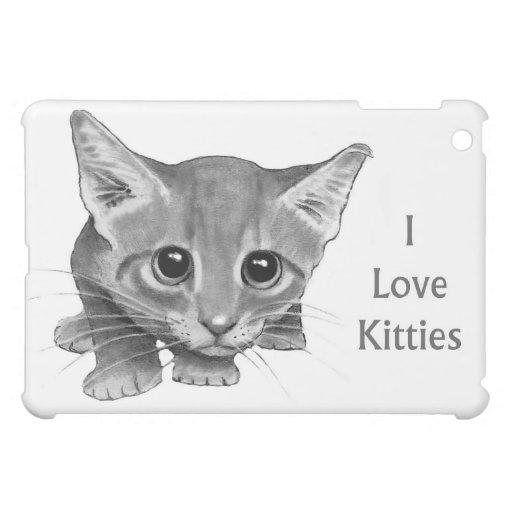 I Love Kitties: Cute Pencil Drawing: Big-Eyed Cat Cover For The iPad Mini