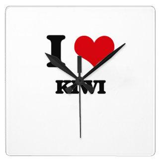 I Love Kiwi Square Wallclocks