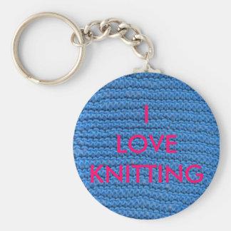 I LOVE KNITTING BASIC ROUND BUTTON KEY RING