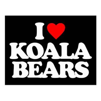 I LOVE KOALA BEARS POSTCARD