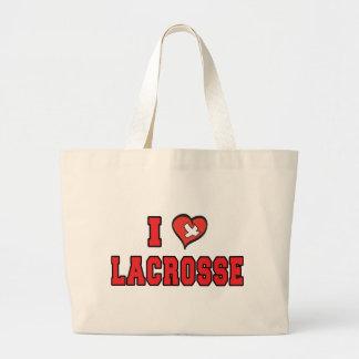I Love Lacrosse Canvas Bags