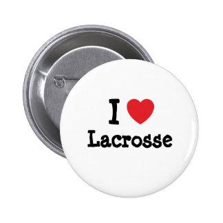 I love Lacrosse heart custom personalized Button