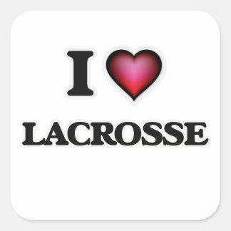 I Love Lacrosse Square Sticker