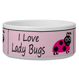 I Love Ladybugs Cute Ladybug Dog Bowls
