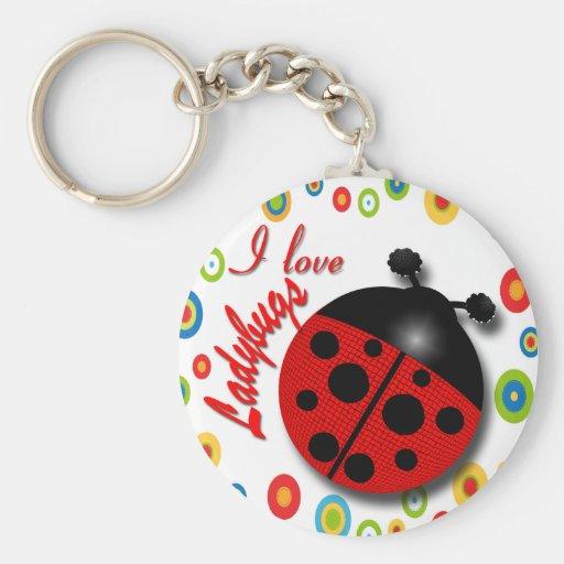I Love Ladybugs Keychains