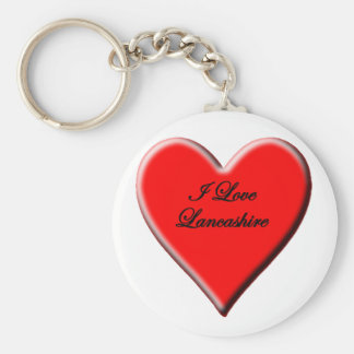 I Love Lancashire Basic Round Button Key Ring