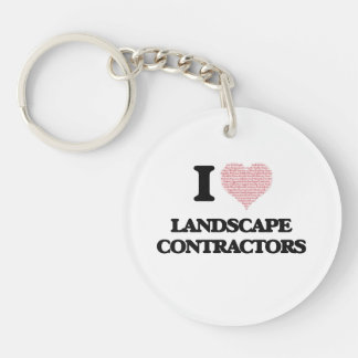 I love Landscape Contractors (Heart made from word Single-Sided Round Acrylic Key Ring
