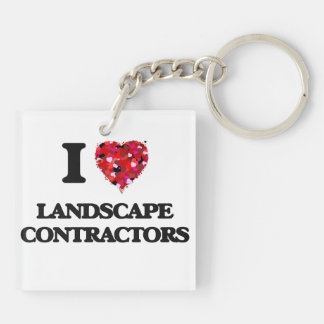I love Landscape Contractors Double-Sided Square Acrylic Keychain