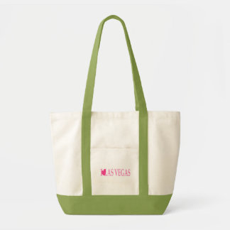 I LOVE Las Vegas (Pink Heart) on Lime Green Tote B