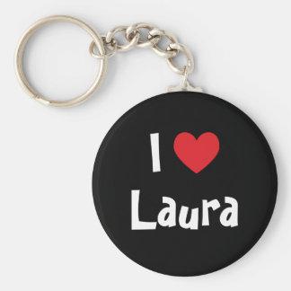 I Love Laura Basic Round Button Key Ring
