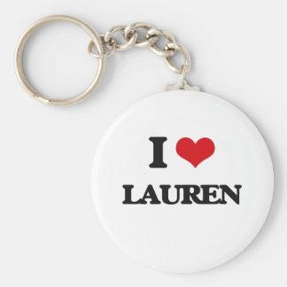 I Love Lauren Basic Round Button Keychain