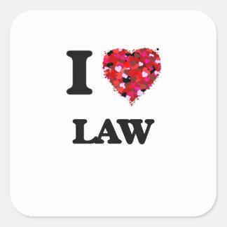 I Love Law Square Sticker