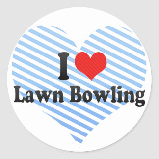 I Love Lawn Bowling Round Sticker