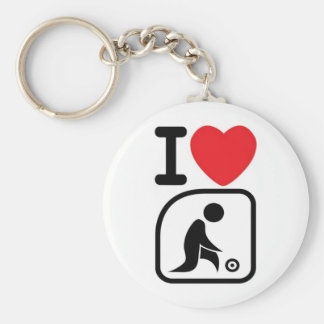 I love lawn bowls basic round button key ring