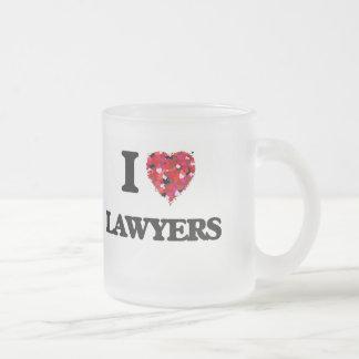 I Love Lawyers Frosted Glass Mug