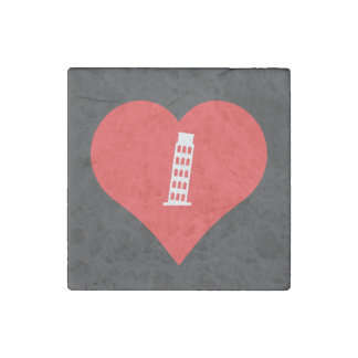 I Love Leaning Tower Of Pisa Icon Stone Magnet