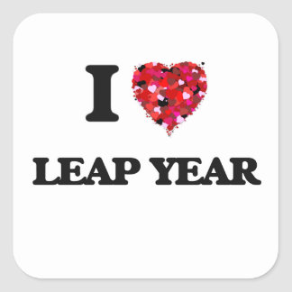 I Love Leap Year Square Sticker