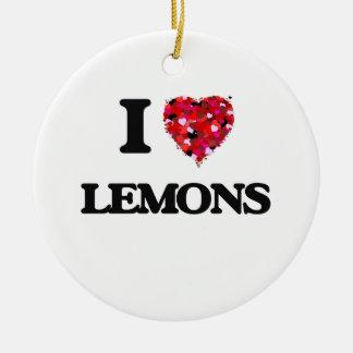 I Love Lemons Round Ceramic Decoration
