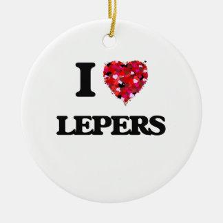 I Love Lepers Round Ceramic Decoration