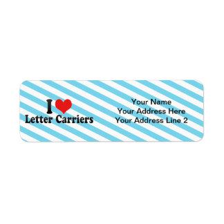 I Love Letter Carriers Return Address Label