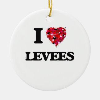I Love Levees Round Ceramic Decoration