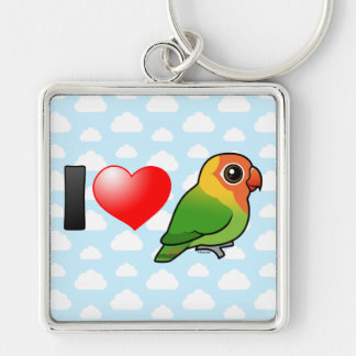 I Love Lilian's Lovebirds Silver-Colored Square Key Ring