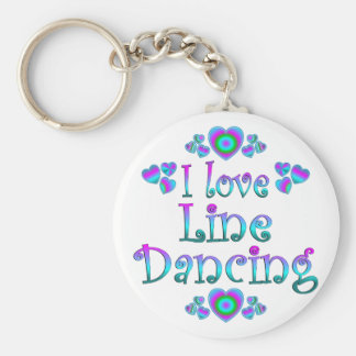 I Love Line Dancing Basic Round Button Key Ring