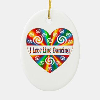 I Love Line Dancing Ceramic Oval Decoration