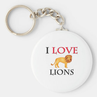 I Love Lions Basic Round Button Key Ring