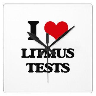 I Love Litmus Tests Square Wallclocks